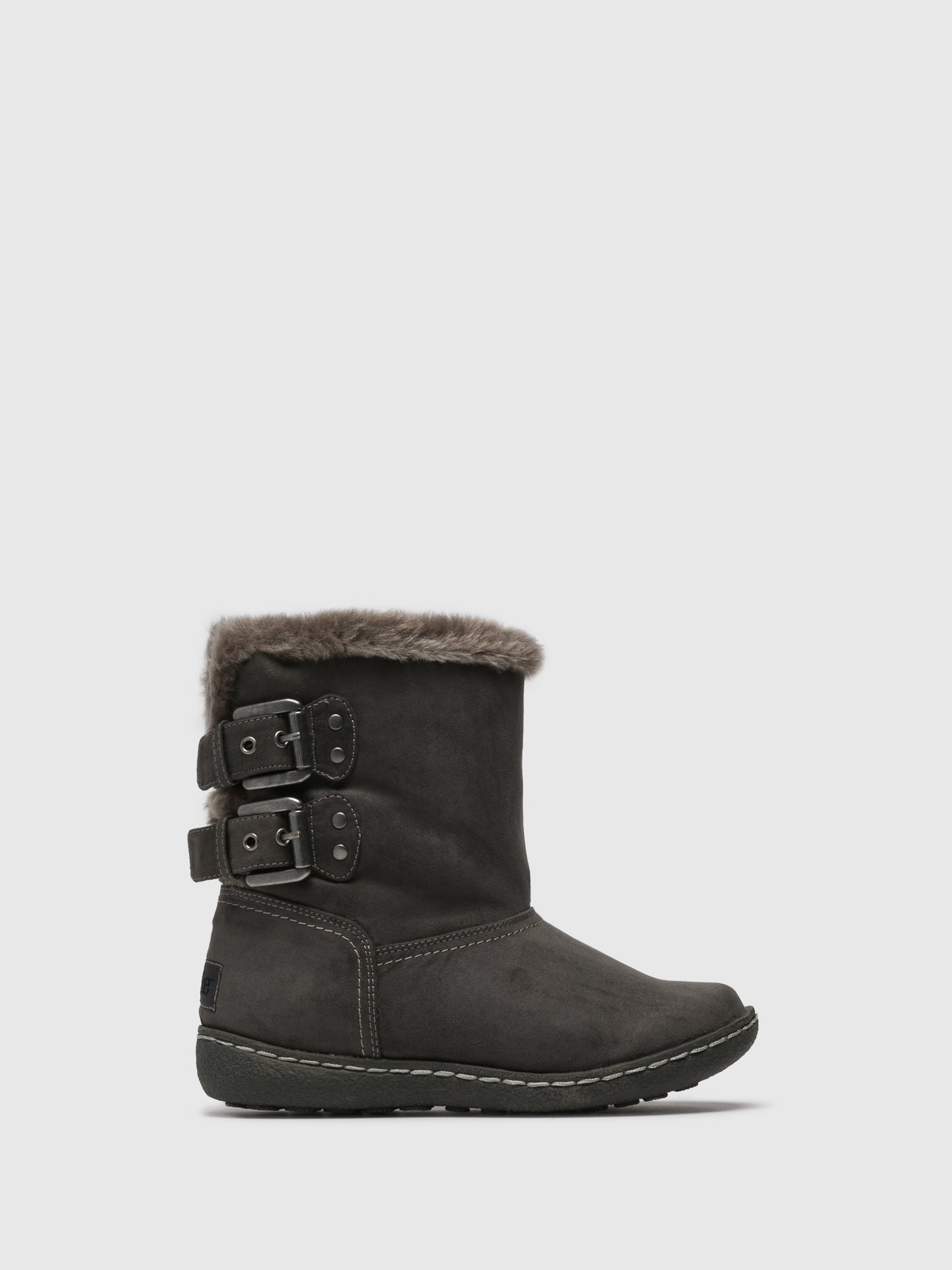 PIXIE Gray Fleece Ankle Boots