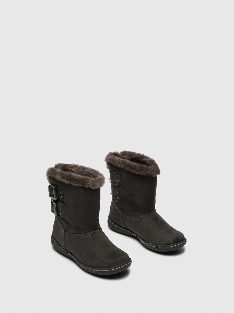 Gray Fleece Ankle Boots