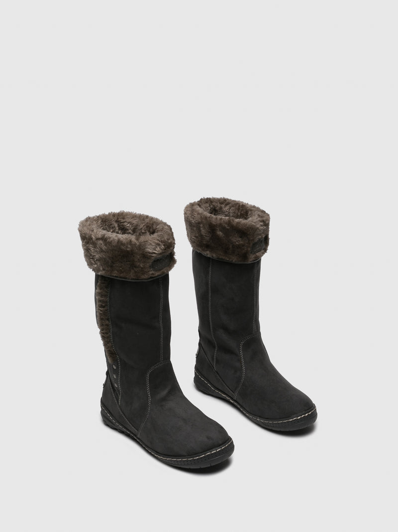 Gray Fleece Boots