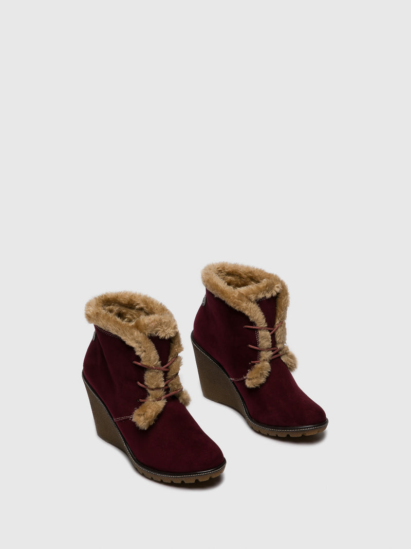 DarkRed Wedge Ankle Boots