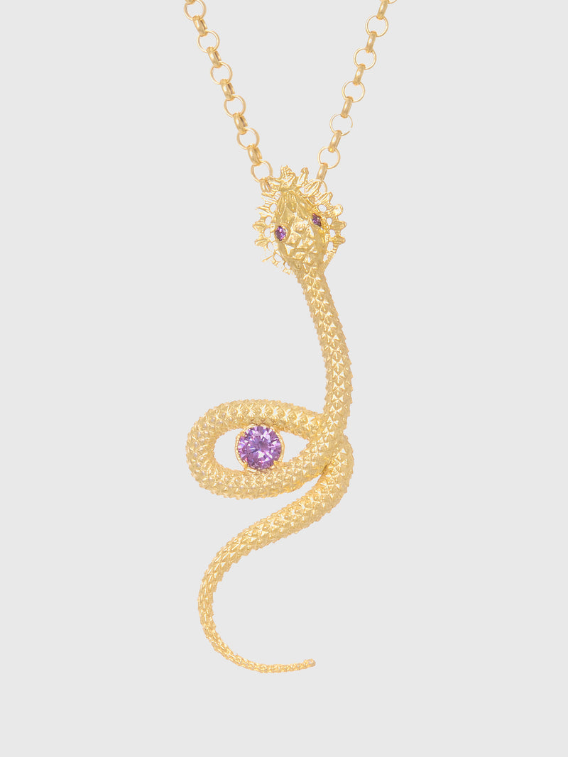 Portugal Jewels Purple Stones Snake Necklace