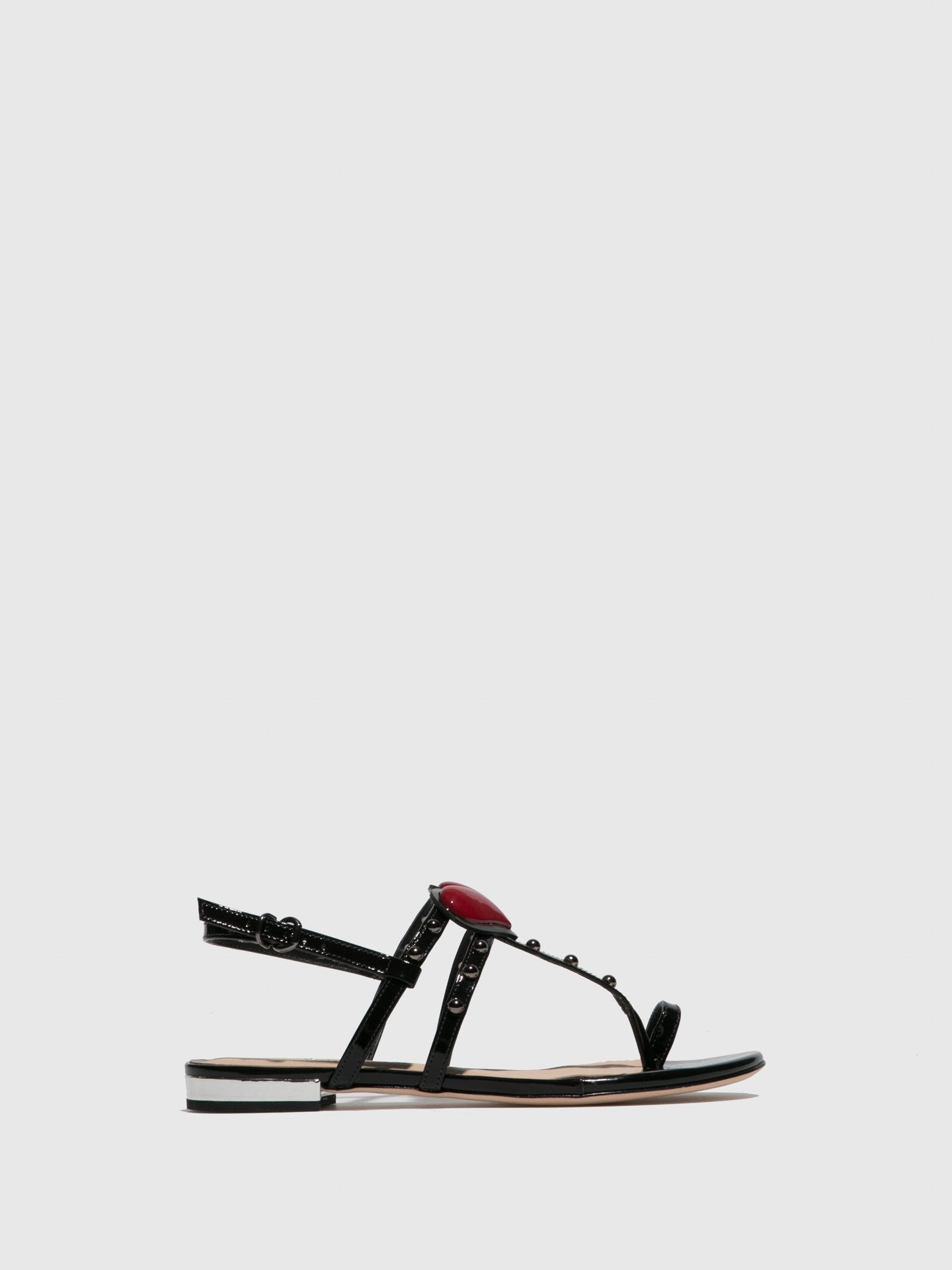 PARODI PASSION Black Flat Sandals