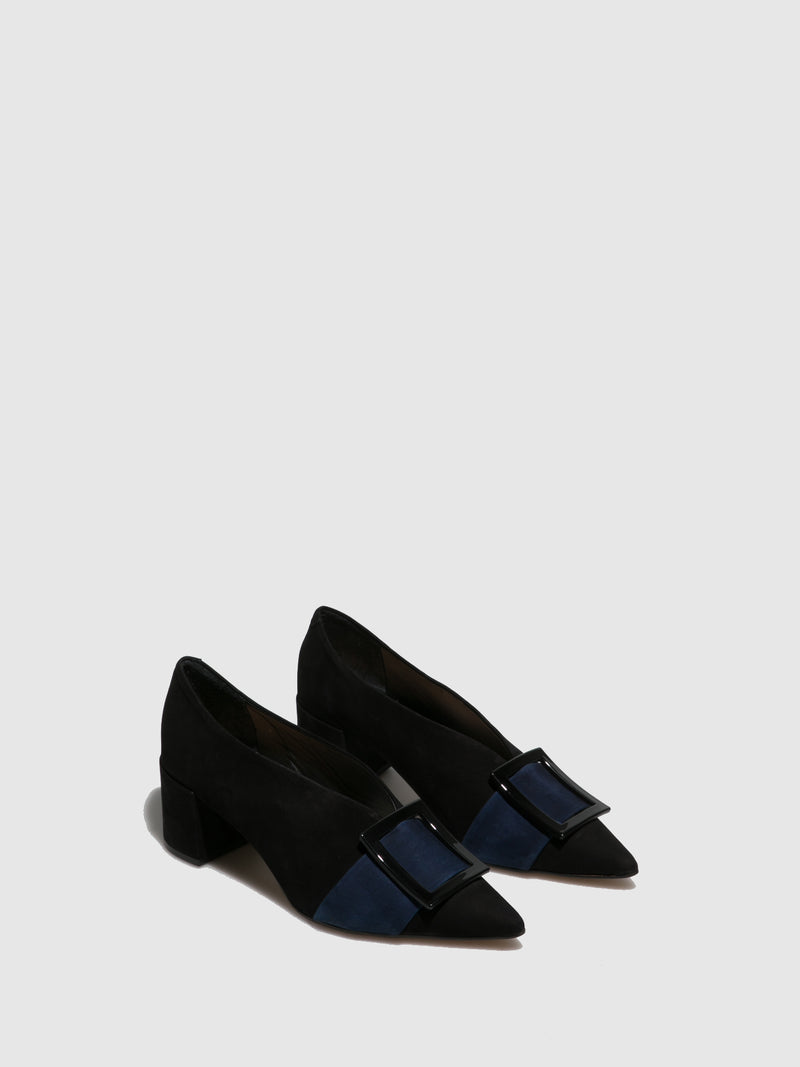 Parodi Passion Blue Black Pointed Toe Shoes
