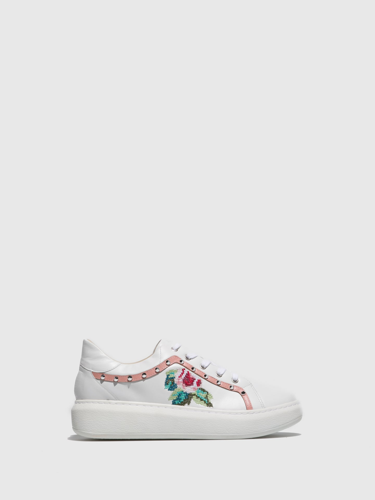 PARODI PASSION Pink White Embroidered Trainers
