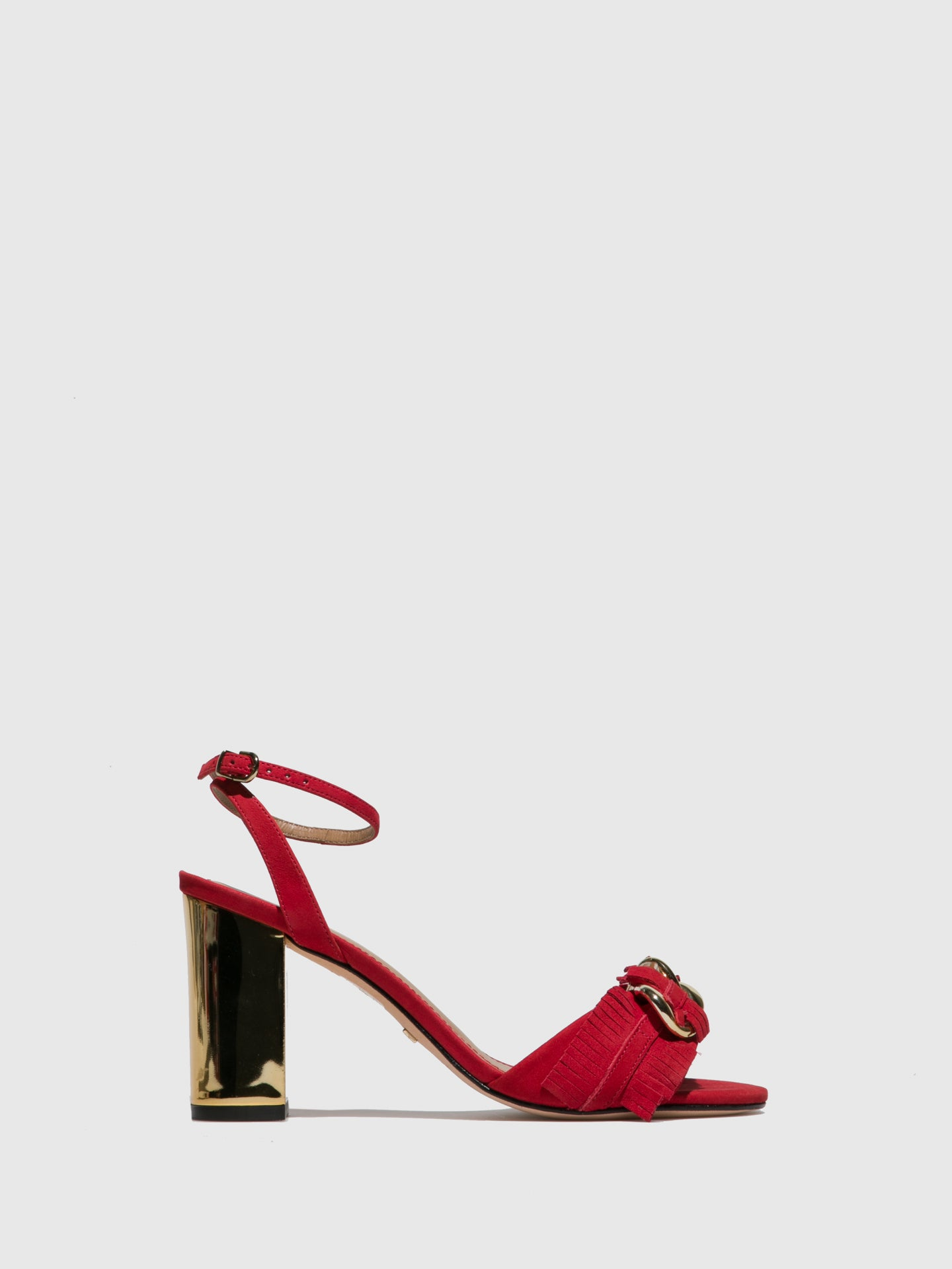 PARODI PASSION Red Chunky Heel Sandals