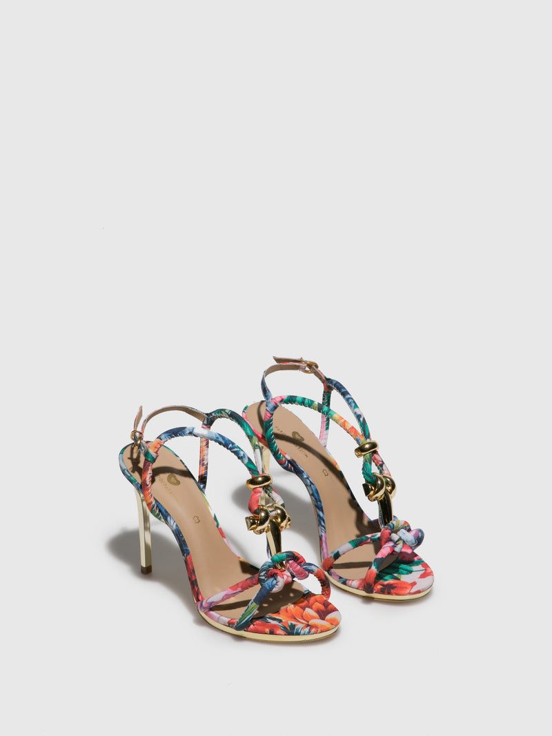 FloralWhite Ankle Strap Sandals