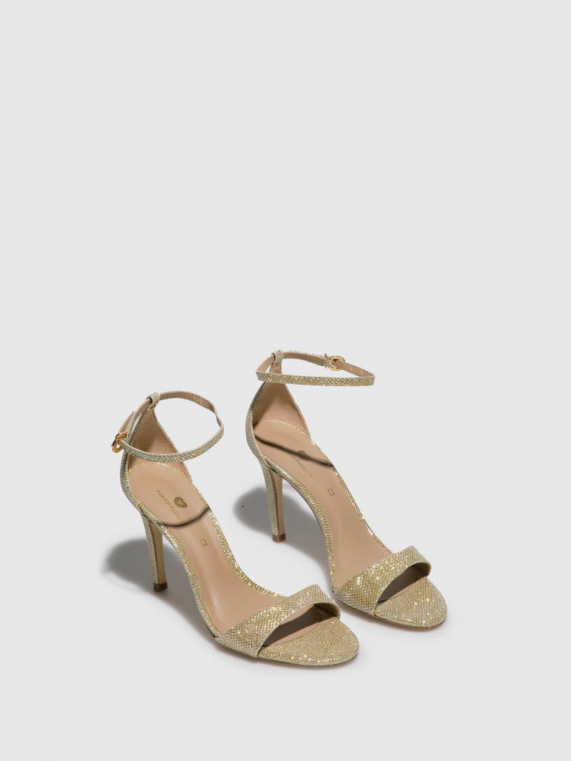 PARODI PASSION Gold Ankle Strap Sandals