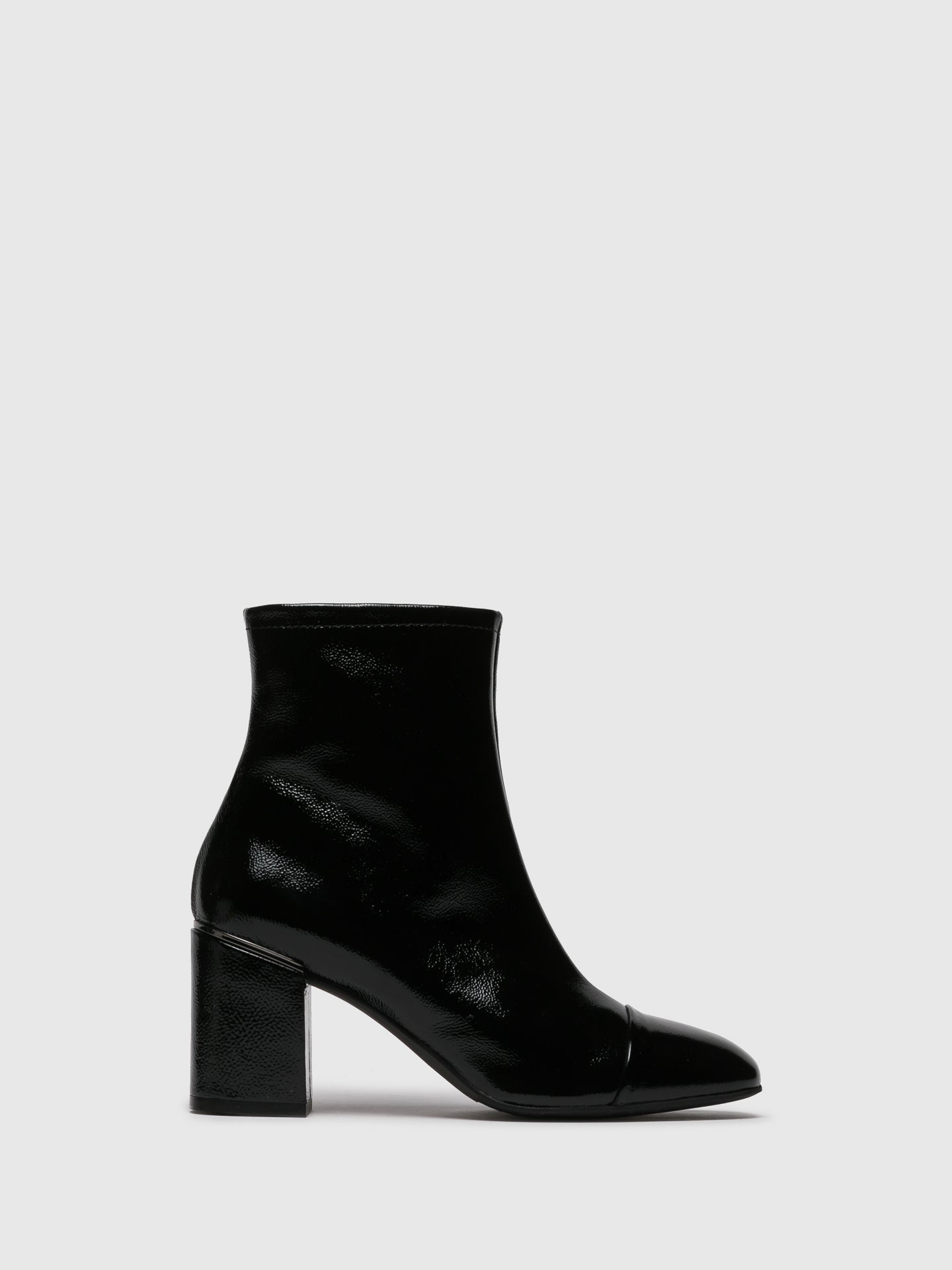 Perlato Black Square Toe Ankle Boots