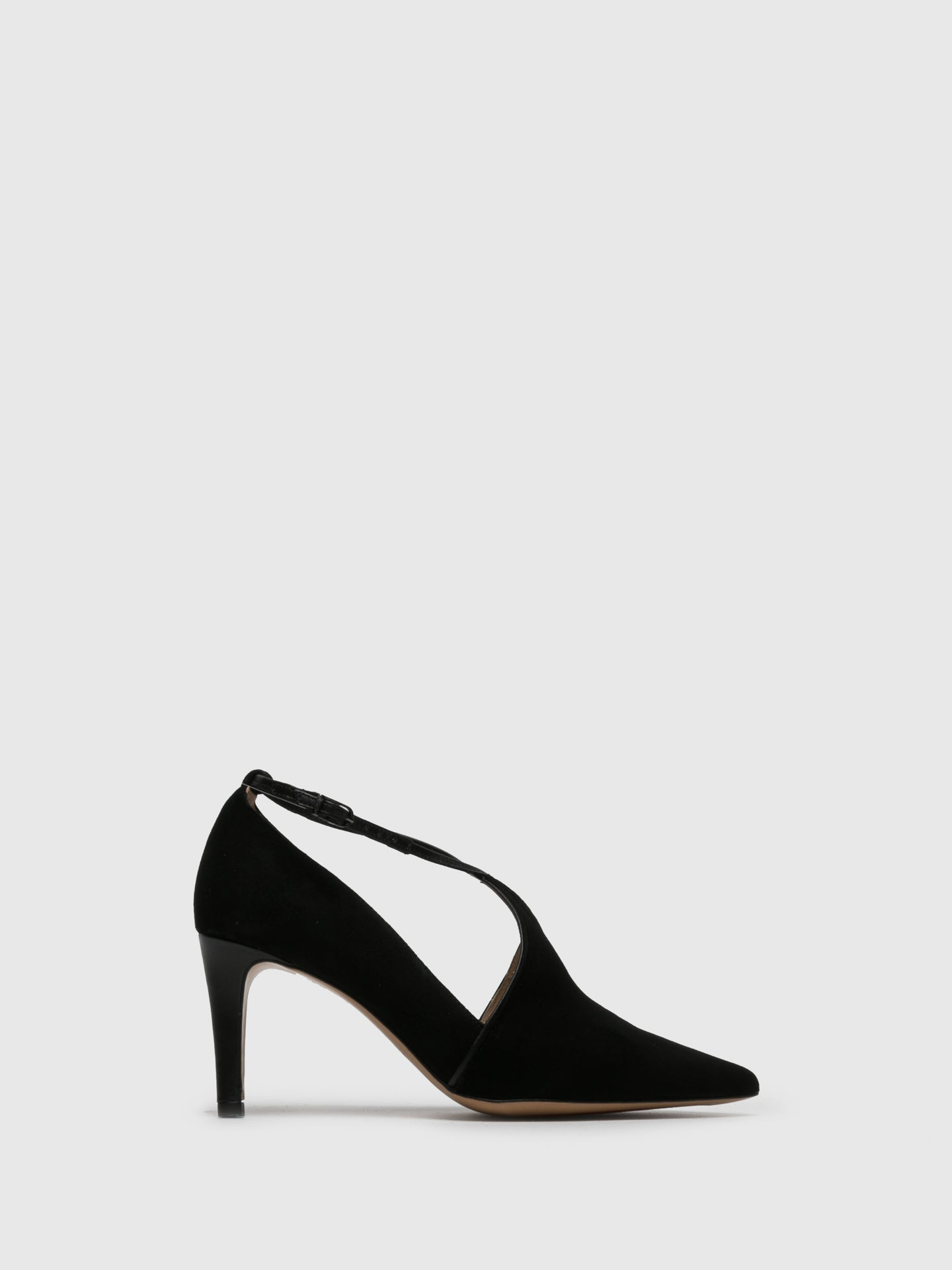 Perlato Black Ankle Strap Shoes