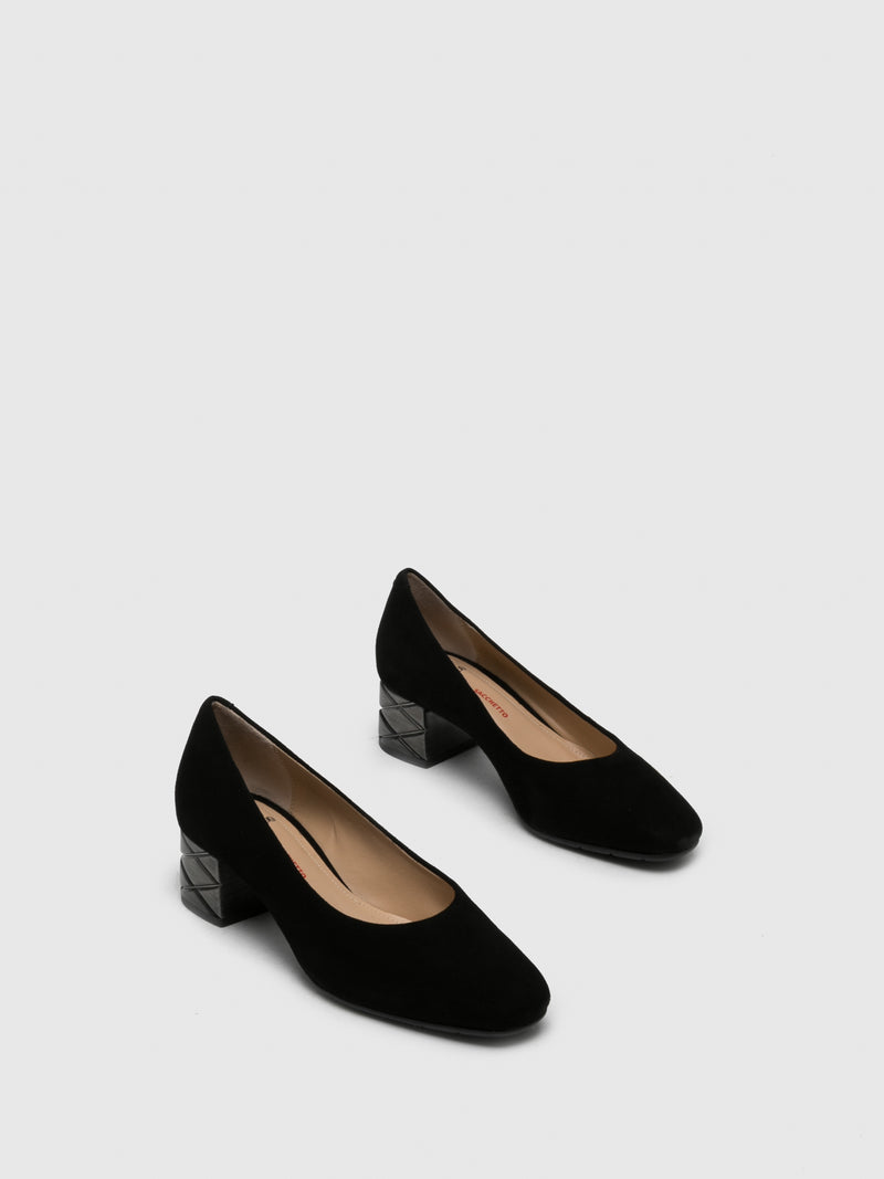 Perlato Black Square Toe Shoes