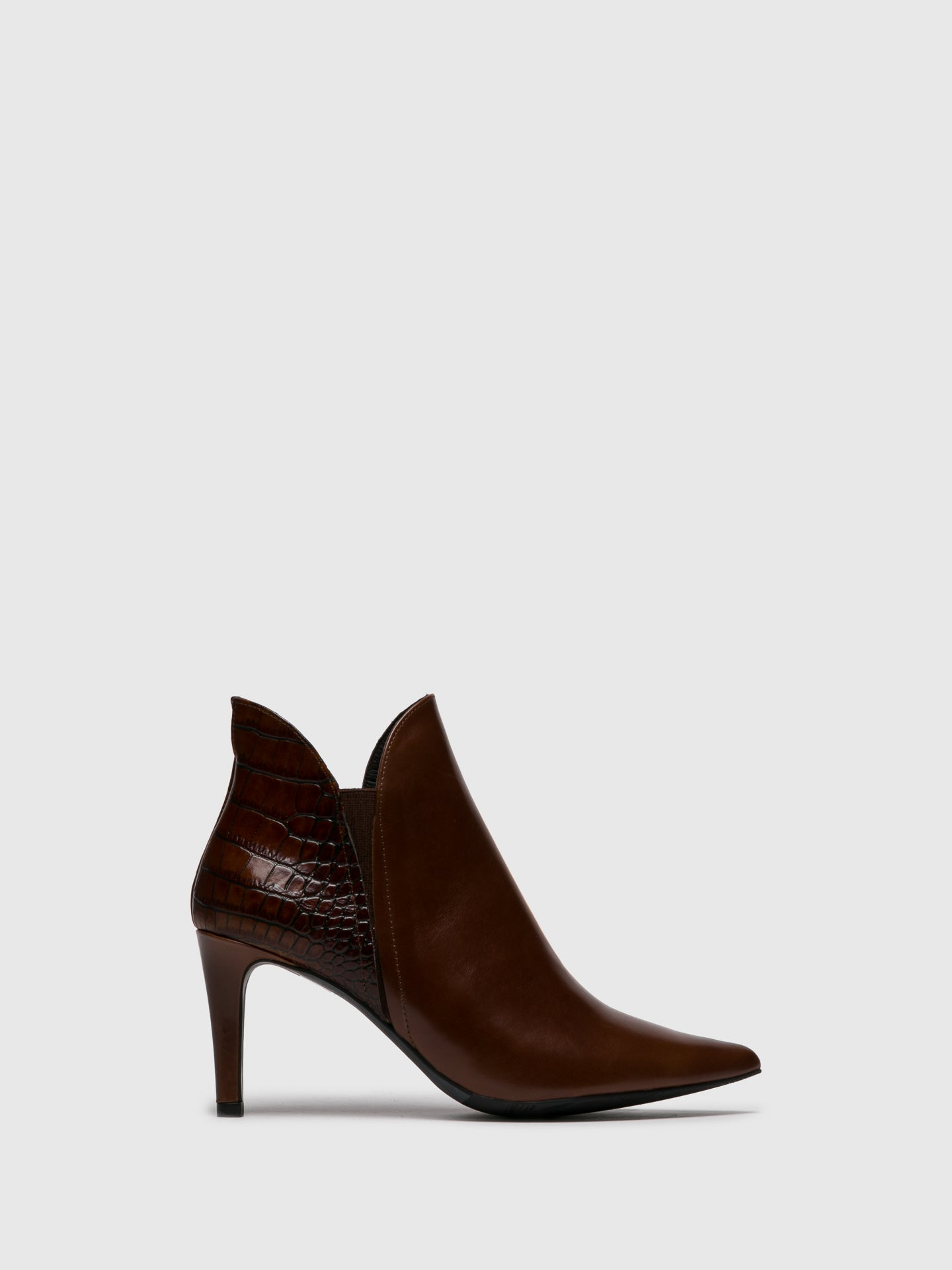 Perlato Brown Pointed Toe Ankle Boots