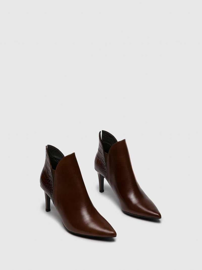 Brown Pointed Toe Ankle Boots