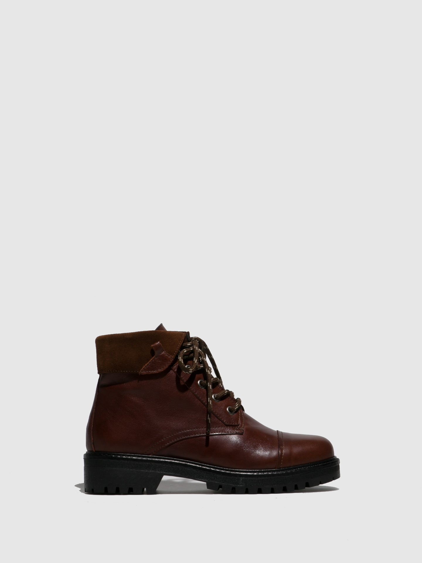 Perlato Cognac Zip Up Ankle Boots