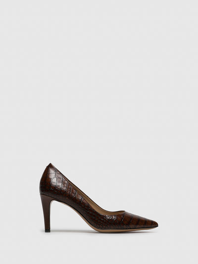 Perlato Brown Leather Pointed Toe Shoes
