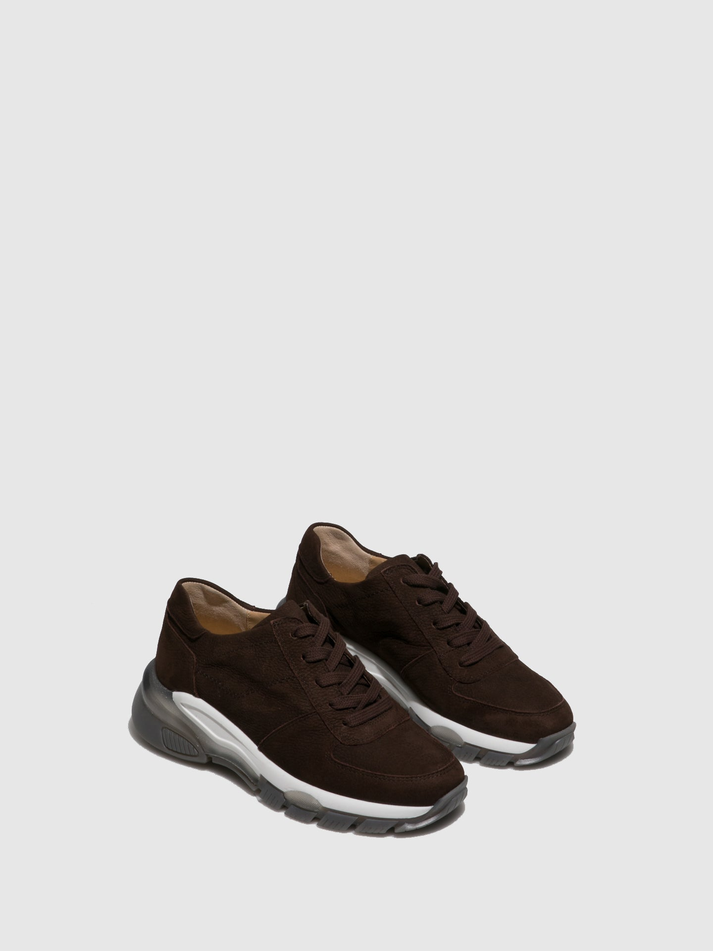 Perlato Brown Lace-up Trainers