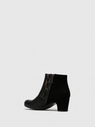 Perlato Tan Black Zip Up Ankle Boots