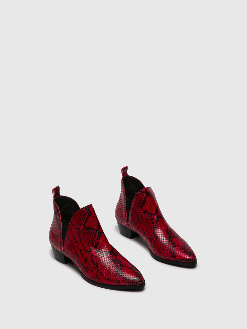 Red Black Elasticated Ankle Boots