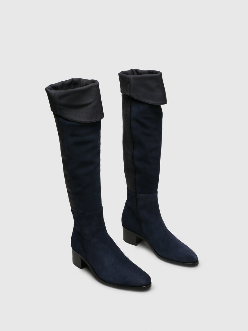 Navy Suede Over the Knee