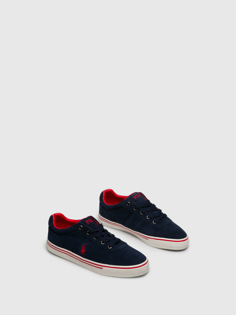 RALPH LAUREN Navy Lace-up Trainers