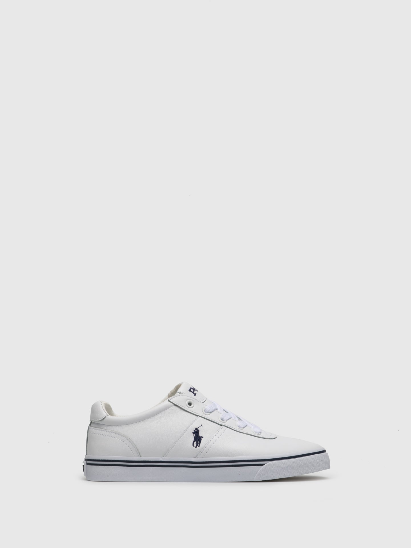 RALPH LAUREN White Leather Lace-up Trainers