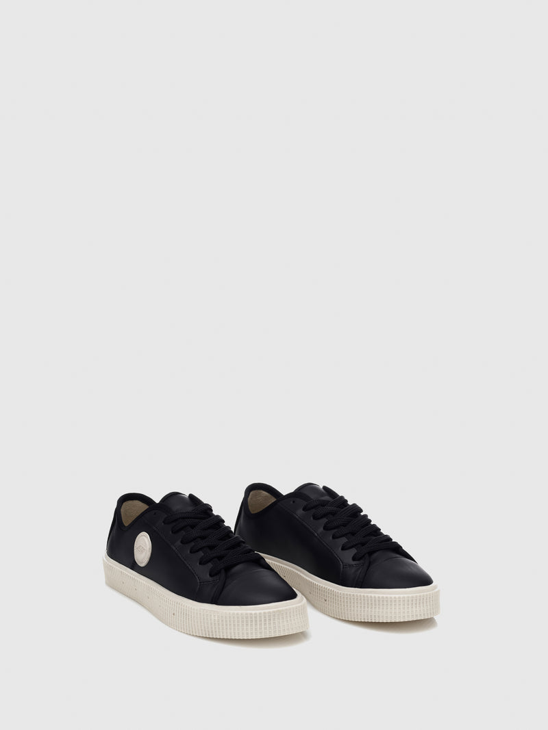 Sanjo Black Leather Lace-up Trainers