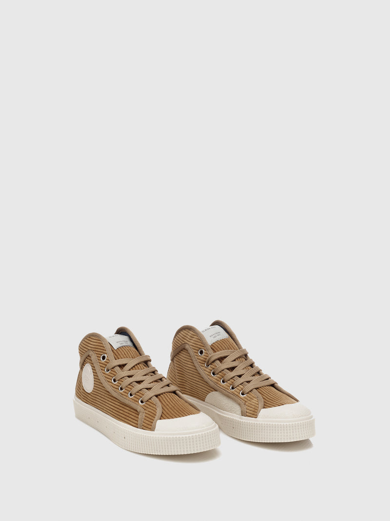 Beige Bombazine Lace-up Trainers