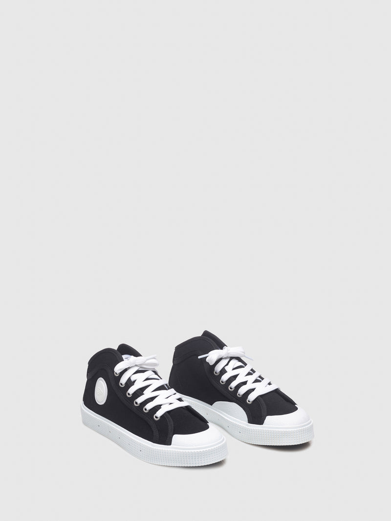 Sanjo Matte Black Lace-up Trainers
