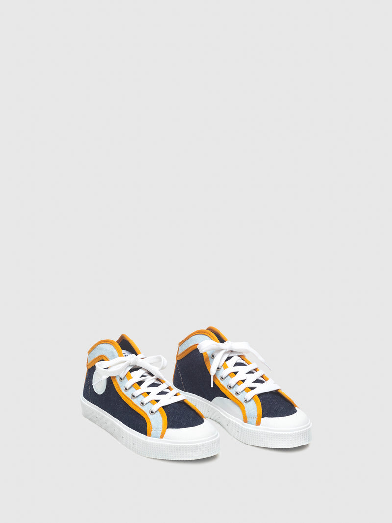 Sanjo Yellow Blue Lace-up Trainers