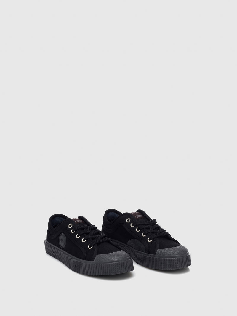 Sanjo Black Cordura Lace-up Trainers
