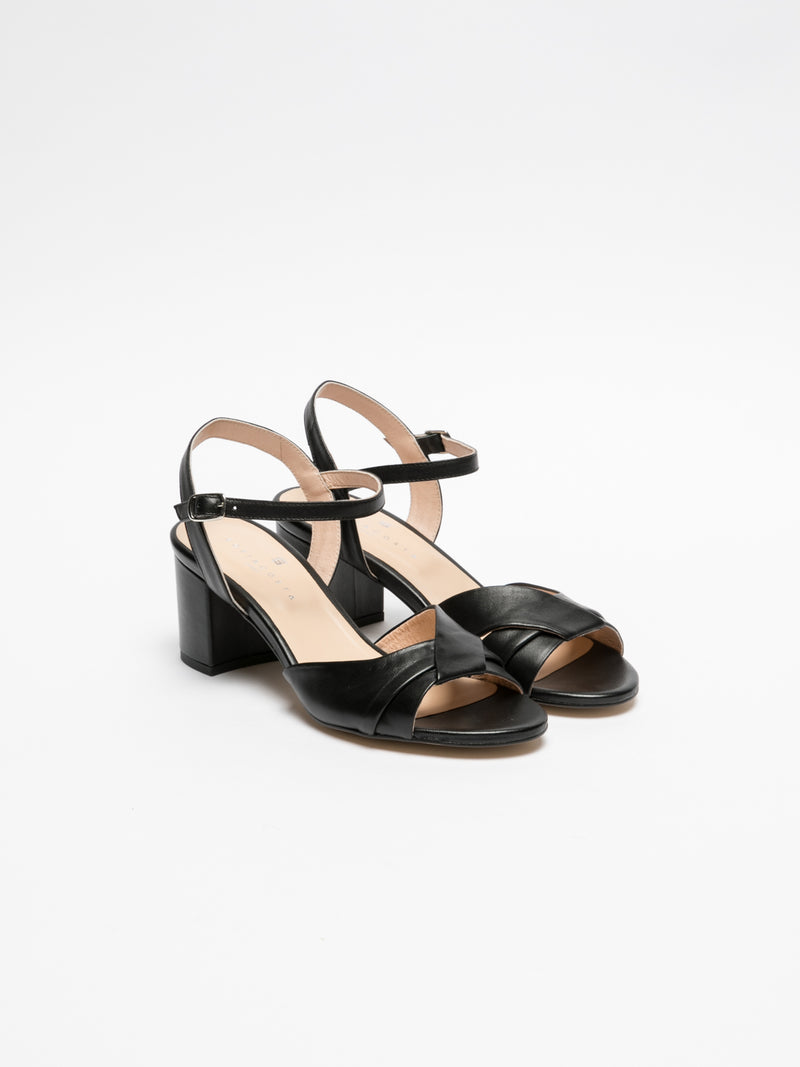 Sofia Costa Black Ankle Strap Sandals