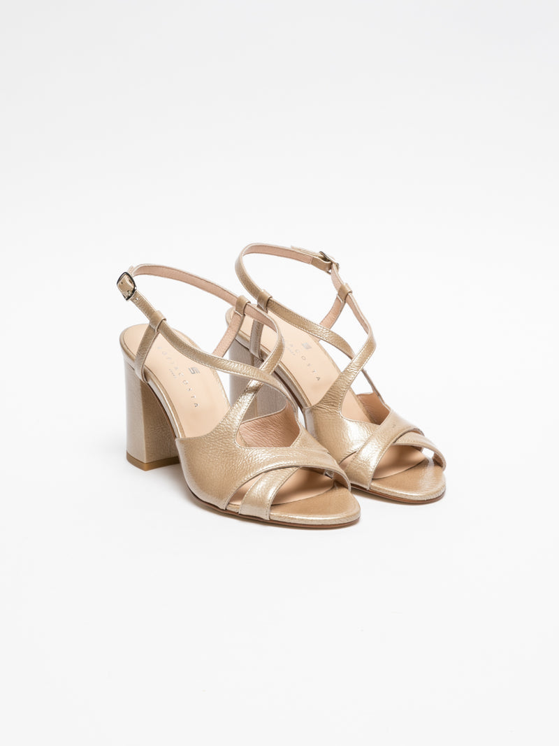 Sofia Costa Beige Crossover Sandals