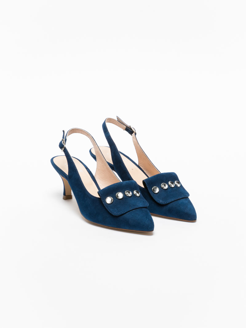 Sofia Costa Blue Ankle Strap Shoes