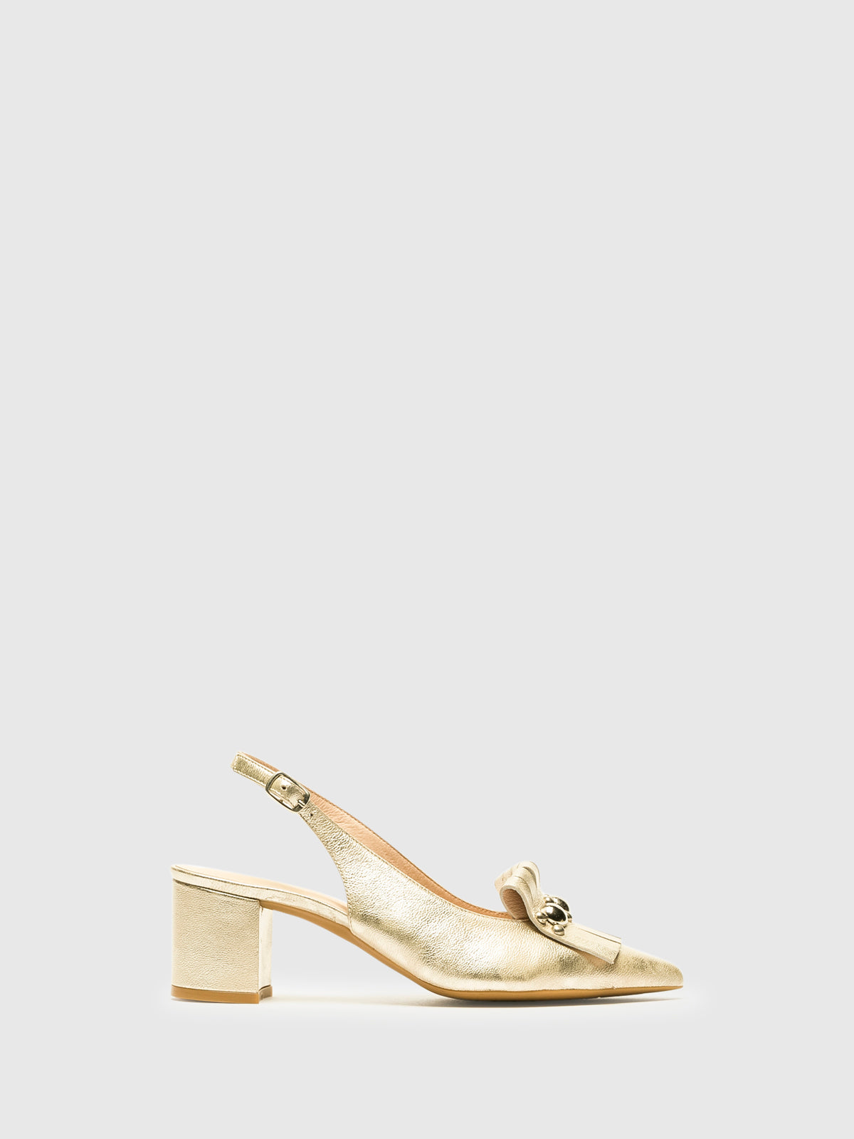 Sofia Costa Gold Sling-Back Pumps Shoes