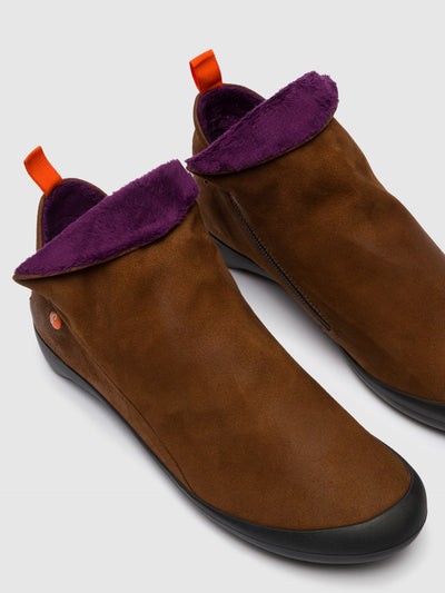 SOFTINOS Brown Suede Zip Up Ankle Boots