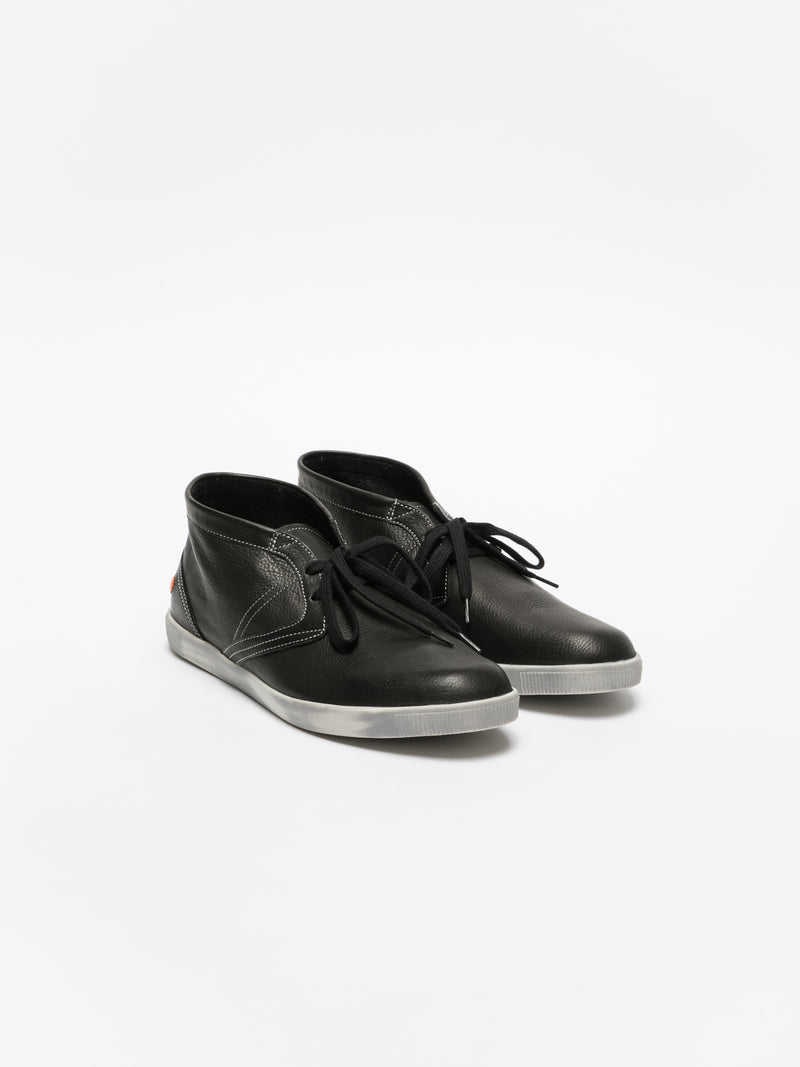 SOFTINOS Coal Black Low-Top Trainers