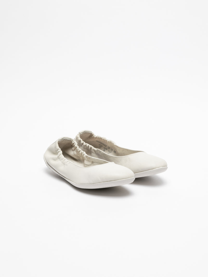 White Elasticated Ballerinas