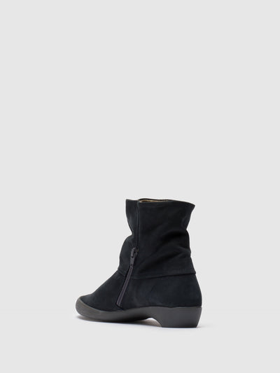 SOFTINOS Navy Zip Up Ankle Boots