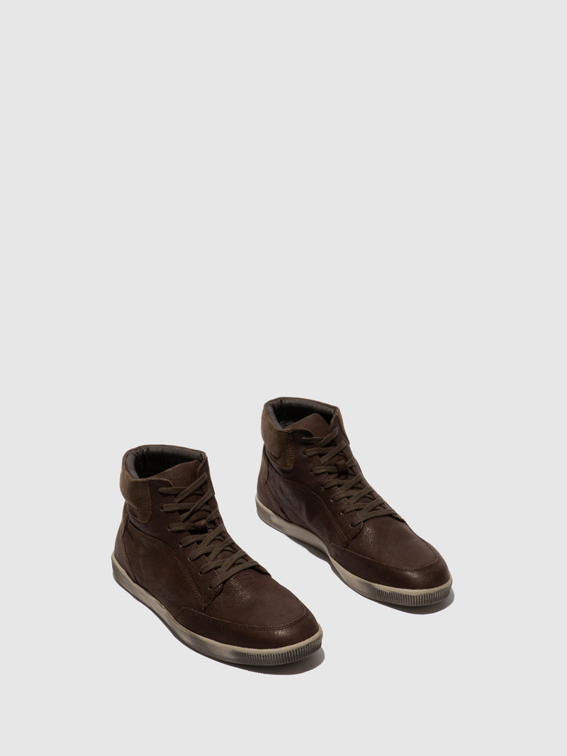 Softinos SaddleBrown Lace-up Trainers