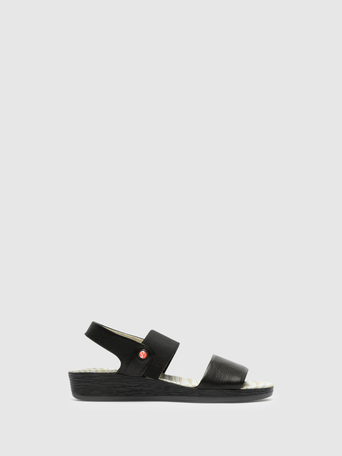 SOFTINOS Black Strappy Sandals