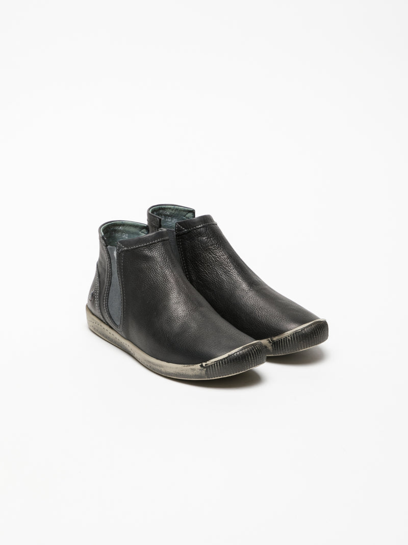 DarkGray Round Toe Ankle Boots