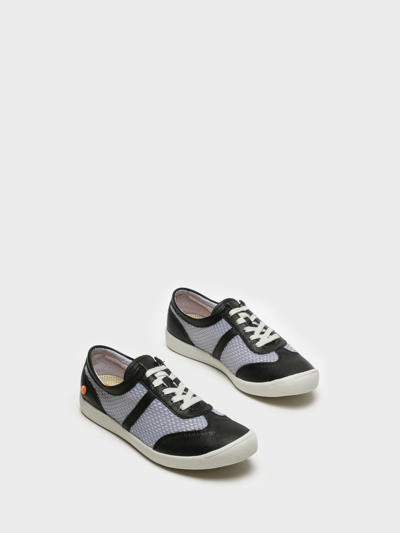 SOFTINOS Black White Lace-up Trainers