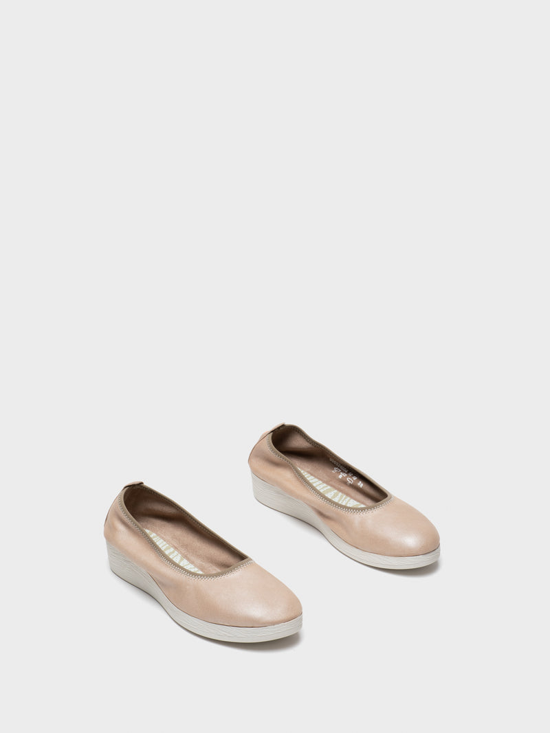 Beige Elasticated Ballerinas