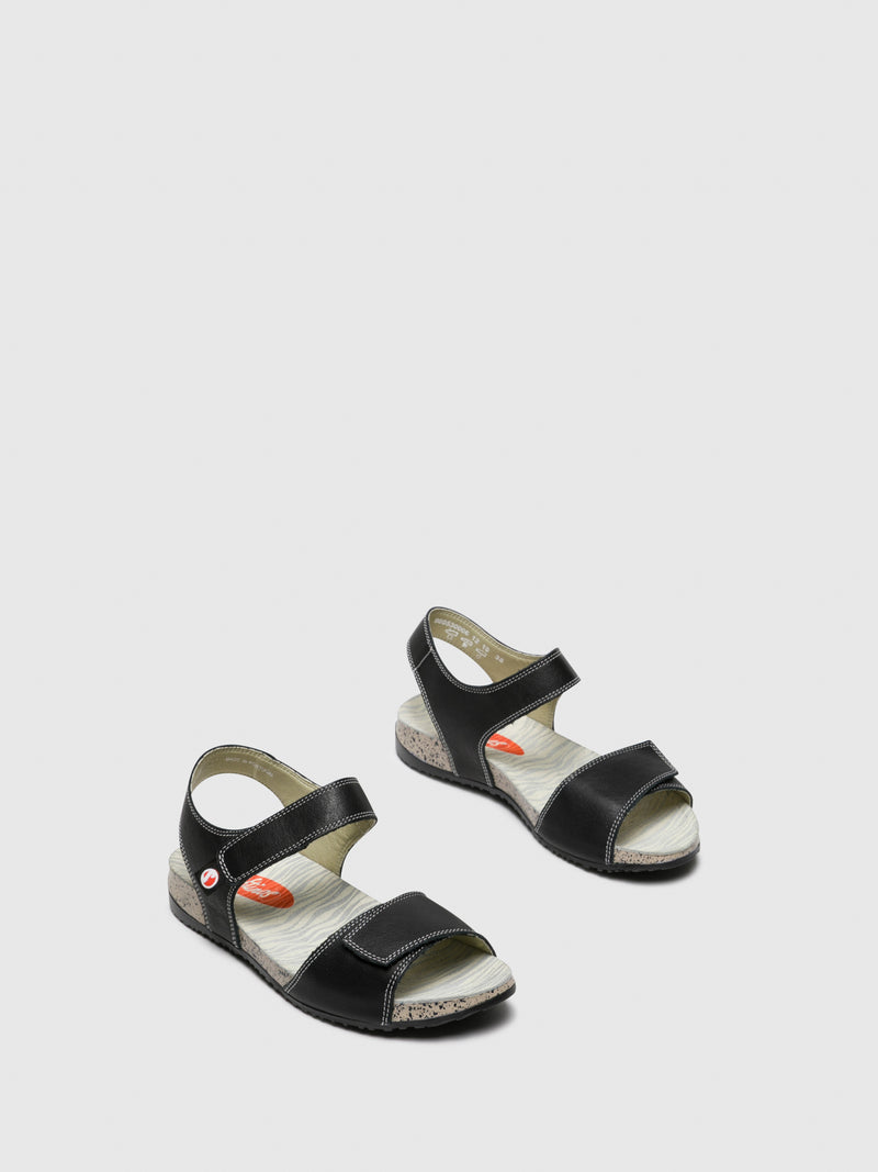 SOFTINOS Black Velcro Sandals