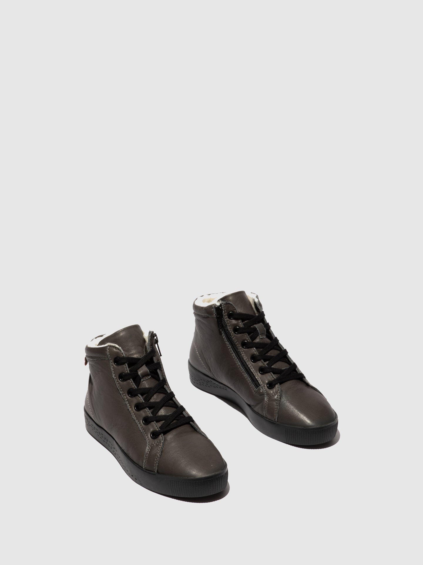 Softinos Zip Up Ankle Boots SAGE602SOF GREY (W/BLACK SOLE AND LACE)