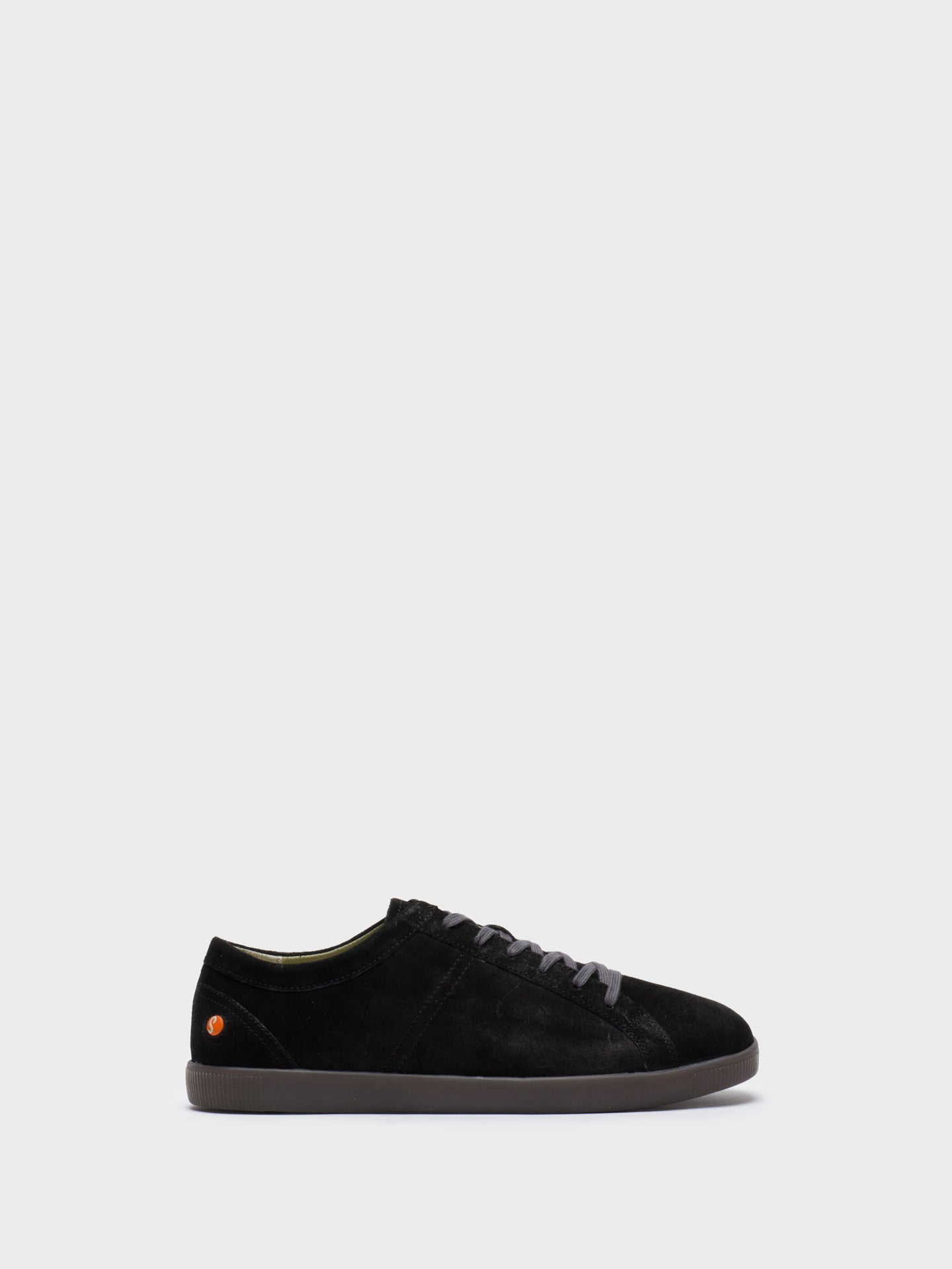 SOFTINOS Black Leather Lace-up Trainers