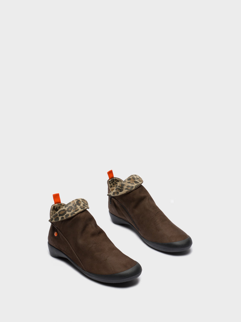 SOFTINOS Brown Leather Zip Up Ankle Boots