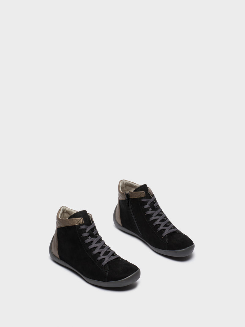 Gray Black Hi-Top Trainers