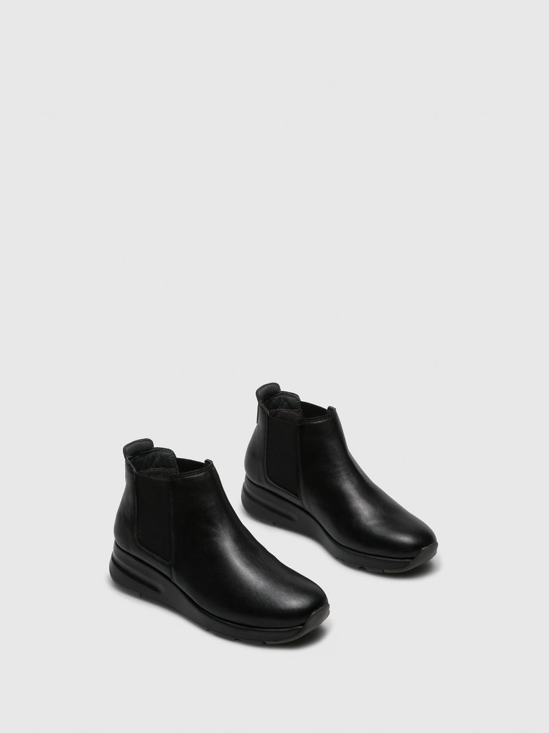 Saydo Black Elasticated Ankle Boots