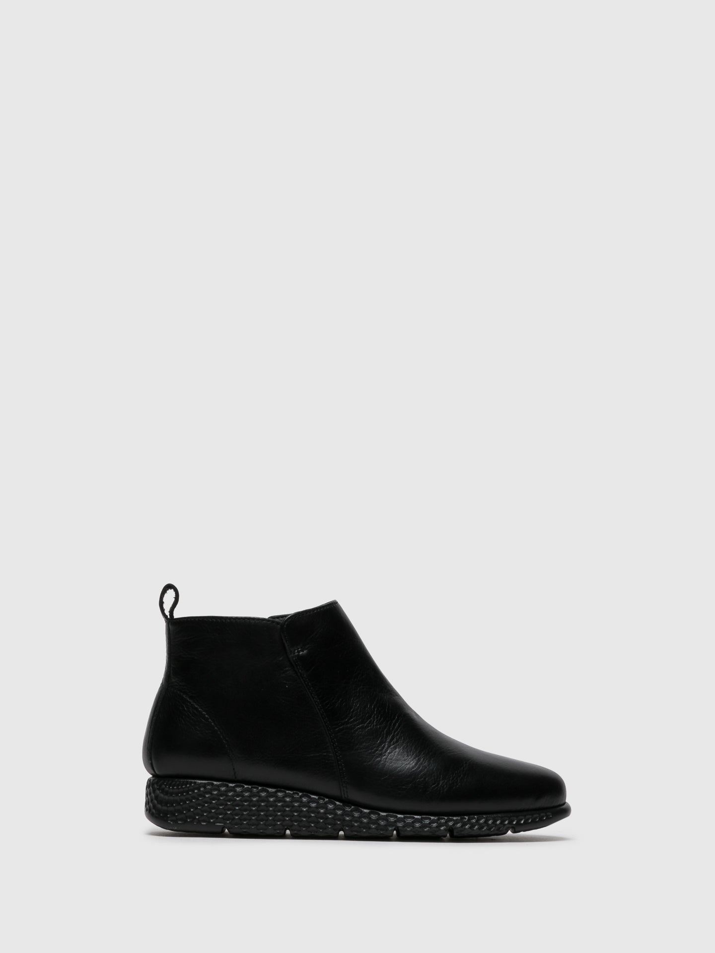 Saydo Black Zip Up Ankle Boots