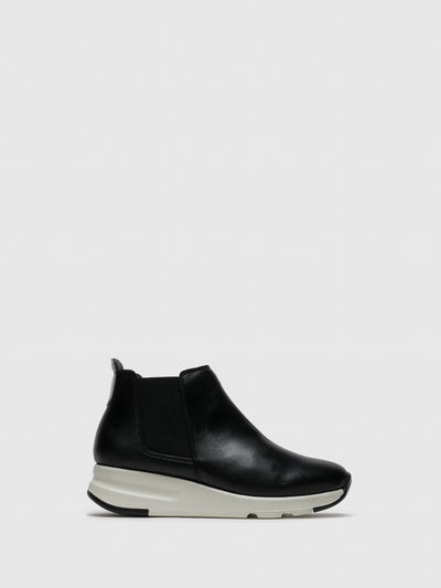 Saydo Black White Elasticated Ankle Boots
